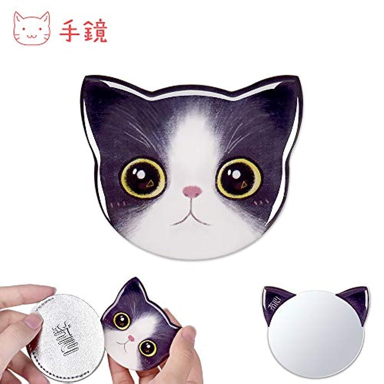 携帯ミラー コンパクトミラー かわいい 猫型 ポケットミラー 軽量 おしゃれ ハンドミラー 可愛い 手鏡 化粧鏡 ミニ 鏡 猫 ミラー 収納袋付き ギフト プレゼント レディース メンズ(1-サチ)
