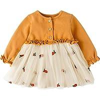 Fairy Baby ベビーワンピース チュチュドレス チュールスカート 長袖 女の子 秋服 プリンセス風 size 100 (イエロー)