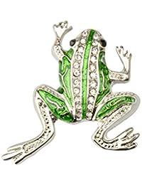 【ノーブランド 品】 かわいい クリスタル カエルの形 ブローチピン クリップ アニマル ジュエリー ギフト