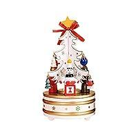 Haiyao クリスマスツリー雪だるまウッドは子供のためのオルゴールクリスマスプレゼントを回転させる (Color : 白)