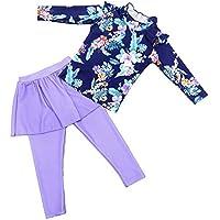 Qiyun Girls Swimming Suit,Floral Long Sleeve Bathing Suit Split Pantskirt Muslim Swimsuit