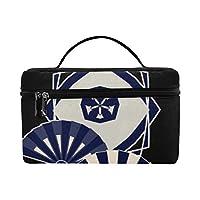 CFHYJ メイクボックス 黒い 美しい 和風の扇子 コスメ収納 化粧品収納ケース 大容量 収納ボックス 化粧品入れ 化粧バッグ 旅行用 メイクブラシバッグ 化粧箱 持ち運び便利 プロ用