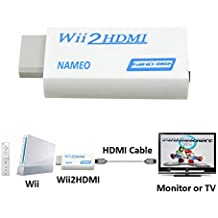 BeKoo Wii to HDMI Adapter Converter Wii2HDMI Support 1080P 720P 3.5mm Audio Video Output - Supports All Wii Display Modes (White-Blue)