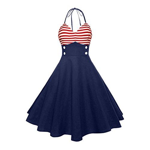 SakuraBest Women Vintage Sleeveless Halter V Neck Evening Party Swing Dress (S)