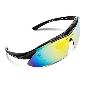 RIVBOS(リバッズ)RBK0806 スポーツサングラス 偏光レンズ 5枚専用交換レンズ付き メンズ レディース ユニセックス サイクリングサングラス UVカット 軽量 ランニングサングラス サイクリング アイウェア (ブラック)