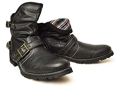 (ジーノ) ZEENO 折り返し 2WAY エンジニアブーツ ショートブーツ ドレープ ブーツ シューズ 靴 メンズ 25cm Black 黒色 ブラック