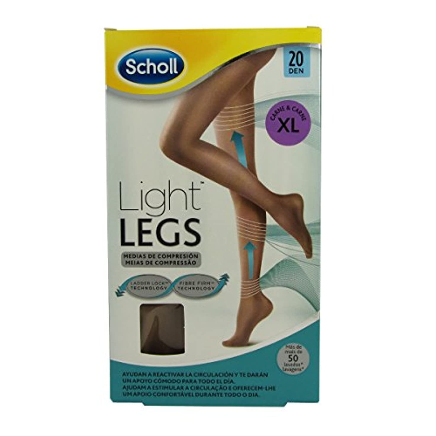 裏切る所有者輪郭Scholl Light Legs Compression Tights 20den Skin Extra Large [並行輸入品]
