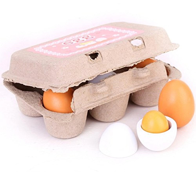 6個カートン木製再生おもちゃを組み立てる卵子供ギフト再生pre-school教育玩具キッチン食べ物