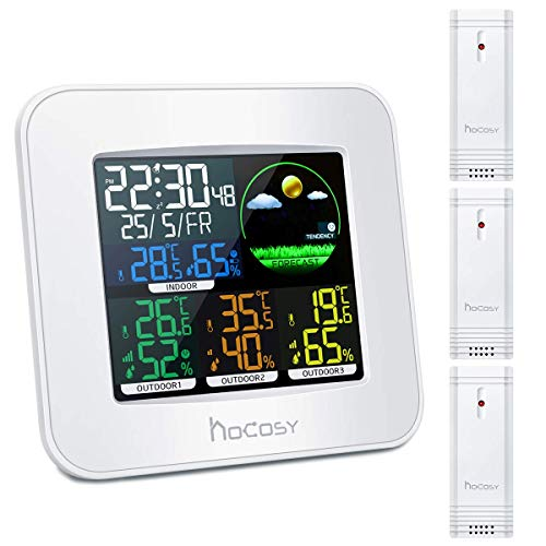 温度計湿度計 HOCOSY 多機能 気象計 天気予報 室内外 快適感 3センサー led 目覚まし時計 時間表示 アラーム デジタル 大画面 置き掛け両用 最高最低温湿度 健康管理 生活管理 日本語説明書付き