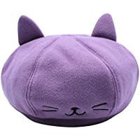 RARITYUS Cute Cat Ear French Beret Wool Casual Classic Solid Beanie Color Winter Warm Cap for Boys Girls