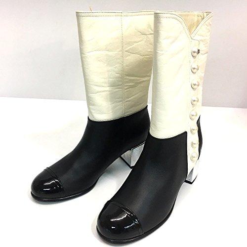 (シャネル) CHANEL フェイクパール シューズ 靴 バイカラー ブーツ レザー レディース 新品同様 中古