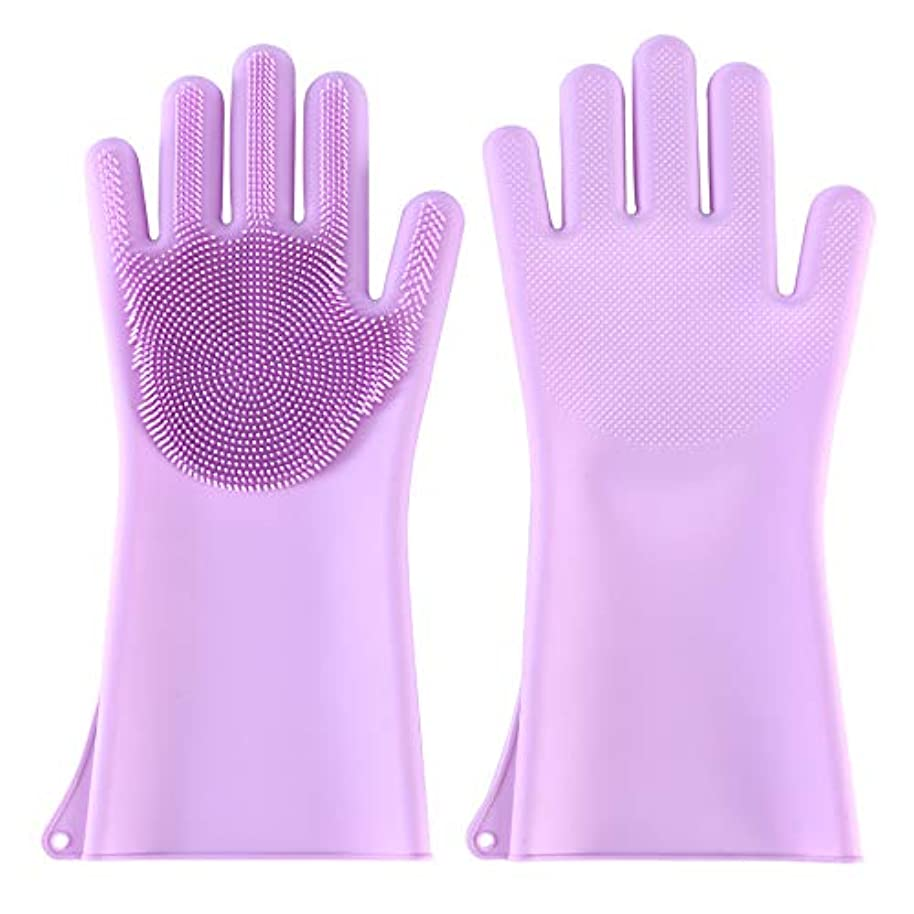 時ビートターゲットBTXXYJP ペット ブラシ 手袋 猫 ブラシ グローブ 耐摩耗 クリーナー 抜け毛取り マッサージブラシ 犬 グローブ お手入れ (Color : Purple)