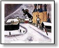 マルク・シャガール *Over Vitebsk【ポスター+フレーム】約 71 x 56 cm ブラック