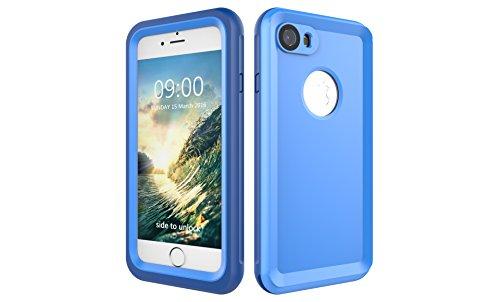 Iphone 7 防水電話ケースは、HBER IP68完全密閉水泳ダイビング水中防塵耐雪性の耐震ヘビーデューティケースカバーは、iphone7のために敏感な画面タッチ指紋認証ロック解除をサポートしています (青)