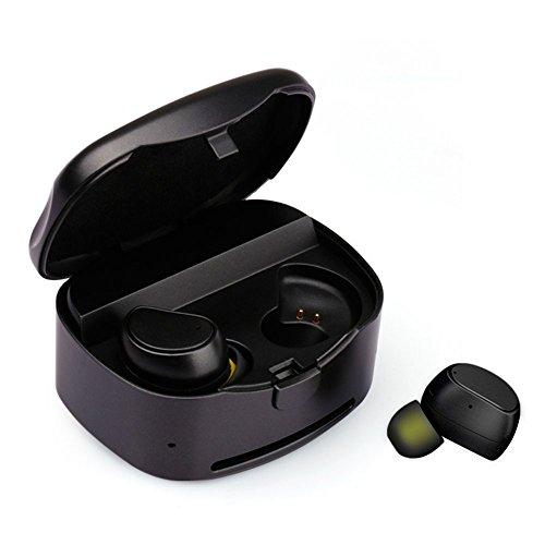 TmDeken Bluetooth イヤホン ワイヤレス スポーツ 高音質 左右分離型 片耳 両耳とも対応 マイク内蔵 ワンボタン設計 ヘッドセット ハンズフリー通話 充電式収納ケース iPhone Android 対応 (ブラック)