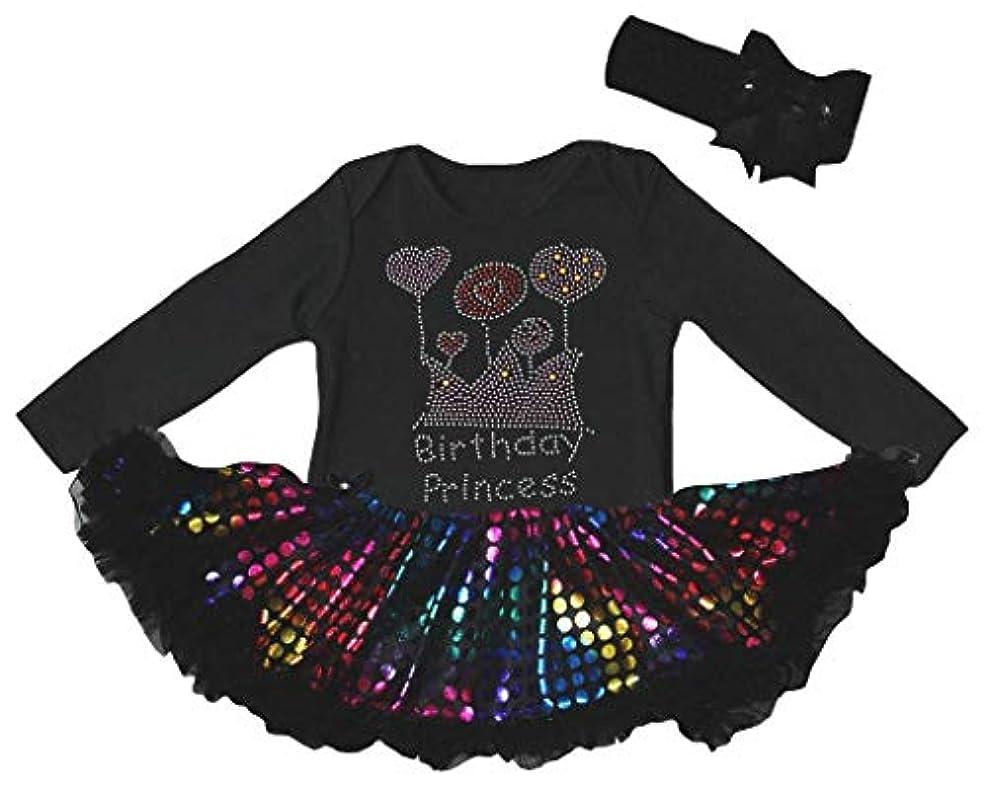 アテンダント従事したミュウミュウ[キッズコーナー] Birthday Princess ブラック 長袖 ボディスーツ レインボー ドット 子供のチュチ、コスチューム、子供のチュチュ、ベビー服、女の子のワンピースドレス Nb-18m (ブラック, Large) [並行輸入品]