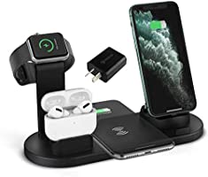 HZM Wireless Charger, 3 in 1 Fast Charging Station Compatible for iWatch AirPods Pro, iPhone 11/11Pro/11Pro Max/XR/Xs/Xs...