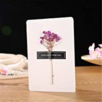 グリーティングカード、手作りのヴィンテージクラフト紙、空白の封筒、ドライフラワー装飾はがきグリーティングカード誕生日グリーティングドライフラワーグリーティングカード(10個)14.6 * 9.8 cm