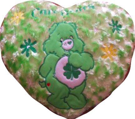 ケアベア グッドラックベア ハート型 クッション グリーン CareBears Care Bears