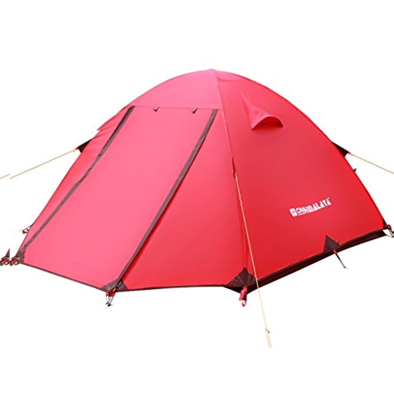中古乳白色マーチャンダイジングRoscloud テントアウトドア3-4人防水キャンプファミリーダブルレイヤーアルミロッド四季テントキャンプ
