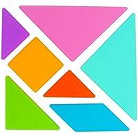 HOOPE シリコーン DIY ジグソーパズル クラシック タングラム 幾何学的形状 色認識ボード ブロックスタックソート ホーム学習 就学前 教育 学習 6ヶ月以上 女の子 男の子