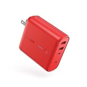 Anker PowerCore Fusion 5000 (モバイルバッテリー 搭載 USB急速充電器 5000mAh) 【PSE認証済/PowerIQ搭載/折りたたみ式プラグ搭載】 iPhone、iPad、Android各種対応 (レッド)