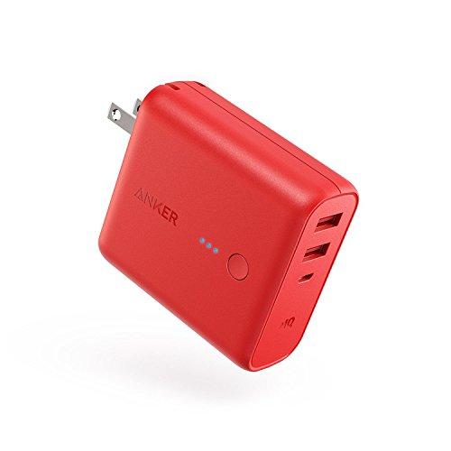 Anker PowerCore Fusion 5000 (5000mAh モバイルバッテリー搭載 USB急速充電器) 【PSE認証済/PowerIQ搭載/折りたたみ式プラグ搭載】 iPhone、iPad、Android各種対応 (レッド)