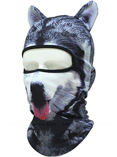 耳付き 動物柄 フェイスマスク 3D アニマル マスク 速乾 フルフェイス マスク バラクラバ 目出し帽 / サバイバルゲーム・自転車・バイク・アウトドア・コスプレ (犬)