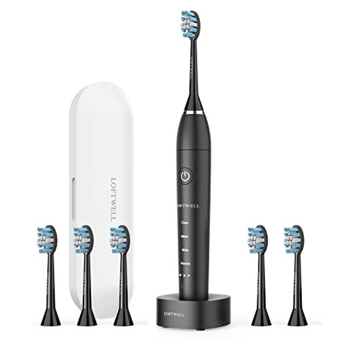 夜明け学者バースト電動歯ブラシ USB充電式 LOFTWELL 音波歯ブラシ 4モード 超音波 歯ブラシ 2分間オートタイマー機能搭載 フル充電20日使え IPX7防水 替えブラシ6本付き (D5-電動歯ブラシ)