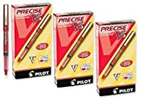 (Pack of 36 Pens, Red) - Pilot Precise V5 Stick Rolling Ball Pens, Extra Fine Point, 36 Pens, Red Ink