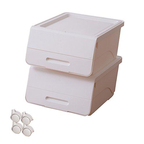 RoomClip商品情報 - 山善(YAMAZEN) オープンボックス フタ付き収納ボックス 2個組 浅型 キャスター付き ホワイト