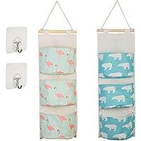 2枚ウォールポケット KAKOO 2個透明粘着フック 壁掛け袋 収納壁袋 絵柄(クマ+フラメンコ) 3ポケット 吊り下げ袋 コンパクト スペース活用 3段