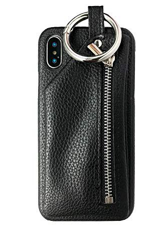 iphone x ケース おしゃれ レザー調 ジップポケット...