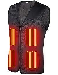 DINOKA 電熱 ベスト 電熱ジャケット 8枚ヒーター内蔵 防寒 加熱 USB接続 バッテリー給電 3段階温度調整 男女兼用 水洗いでき しわなし 臭くない ブラック