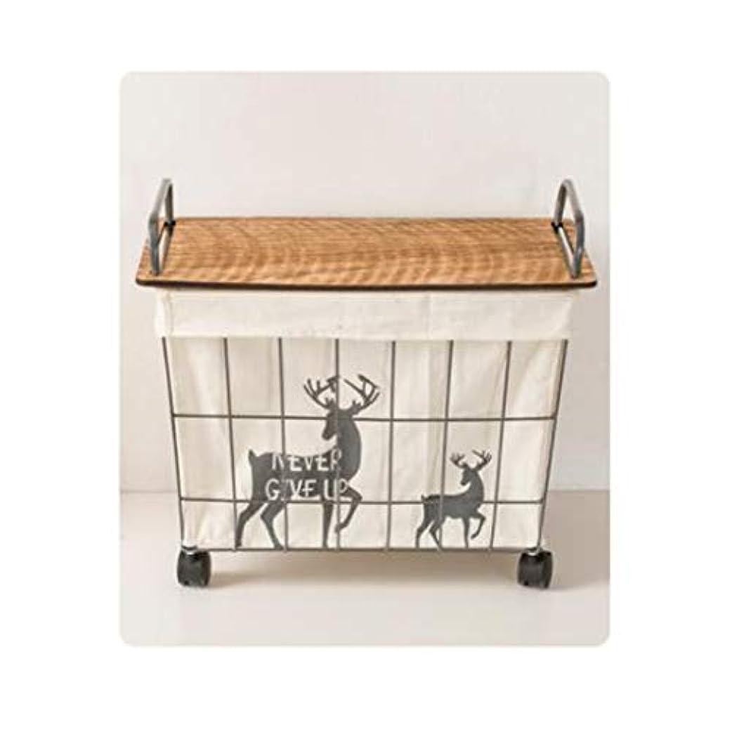 扱いやすいピラミッドスキャンSMMRB 車輪の浴室の洗濯物入れが付いている鍛造鉄の妨げのおもちゃの貯蔵のバスケット、ふたの設計、2つの指定 (サイズ さいず : 42*23.5*46cm)