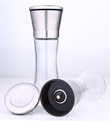 PowerLeadステンレス鋼ペッパー、ソルトグラインダーミルセット(2psペッパーミル)