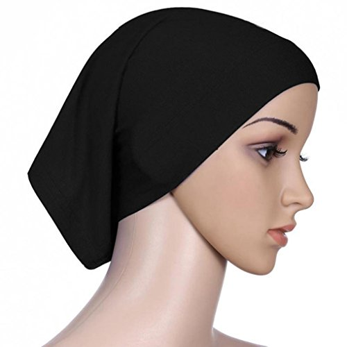 mulUoレディースヘッドスカーフ伸縮性汗吸収性コットンunderscarf Hijabチューブキャップ ブラック