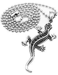KOZEEYファッション ステンレス鋼 赤銅鉱 トカゲ ネックレス 男性 動物の宝石