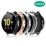Compatible with Galaxy Watch Active 2 Case 44mm, 4 Pack Full Coverage TPU Bumper Screen Protector Case Soft Protective Cover for Samsung Galaxy Active 2 44mm Smartwatch (Clear/Black/Rose Gold/Silver)