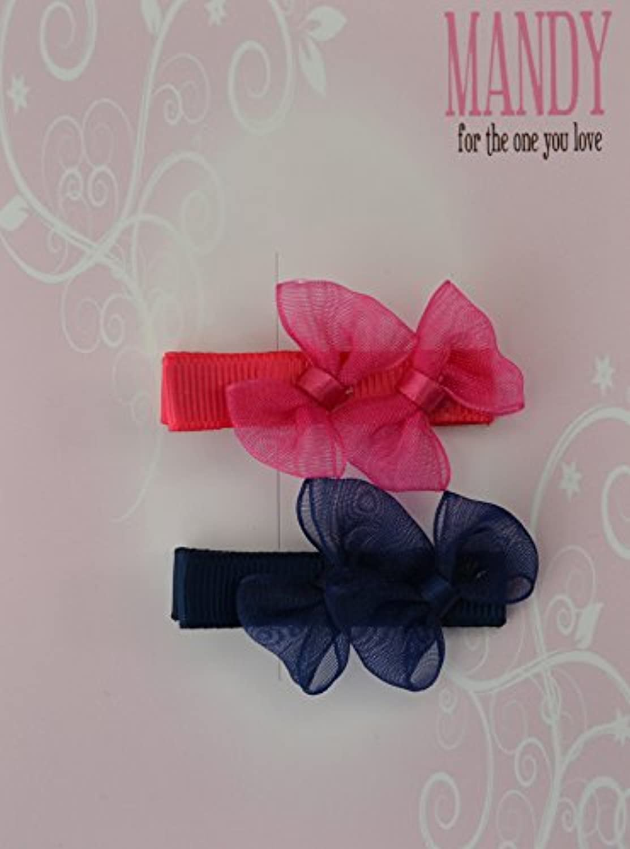 MANDY Sheer Ribbon Bows Shocking Pink & Navy
