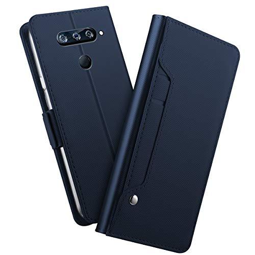 MeetJP, LG V40 ThinQ シェル 財布 レザー, LG V40 ThinQ シェル 〜と カード ホルダー 且つ キックスタンド, LG V40 ThinQ 財布 シェル 〜と 保護, 保護 シェル カバー の LG V40 ThinQ Blue