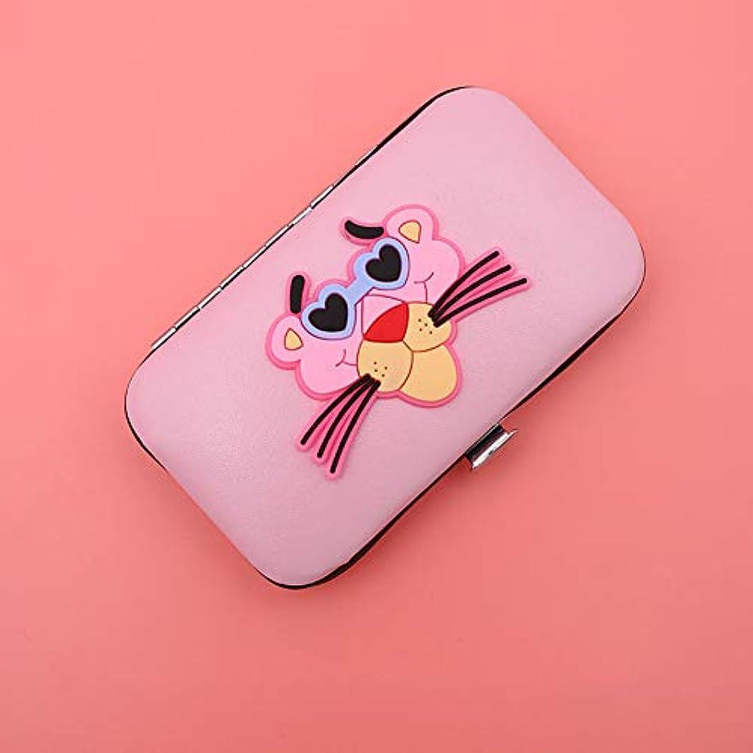 はがきドームパニックネイルクリッパー7点セット、美容ツールセット、女の子漫画ピンクの箱入りのためのマニキュアキット(anthomaniacヒョウ)のネイル