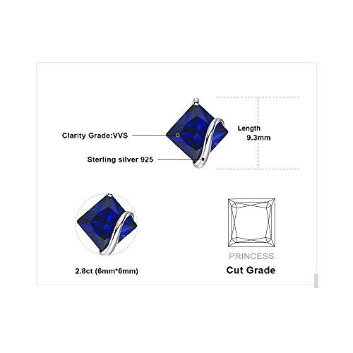 JewelryPalace クラシック 2.8ct スクエア スタッド サファイア ピアス スターリング シルバー925 イヤリング