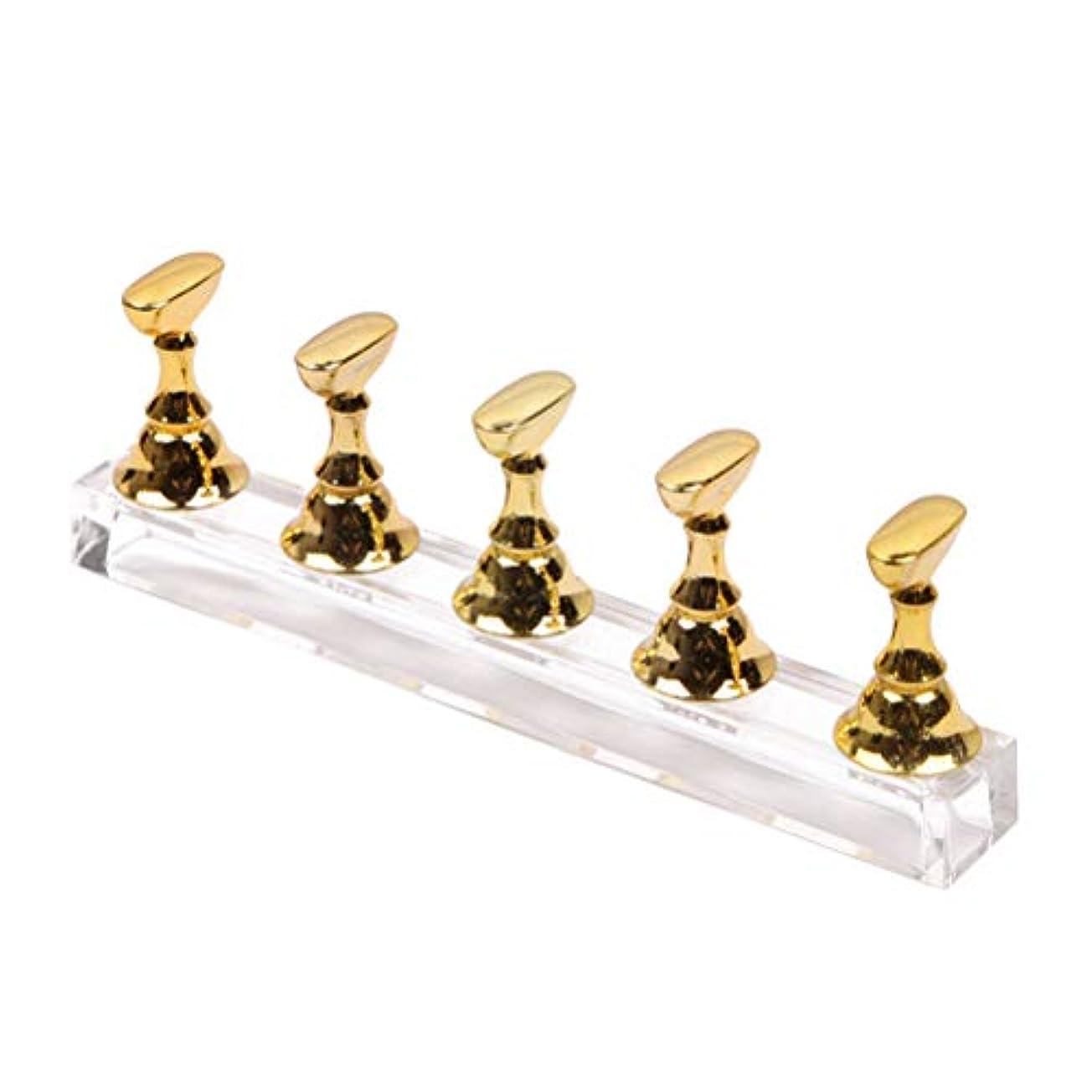 フェッチ葬儀ブラウザFrcolor ネイルチップスタンド ディスプレイスタンド サンプルチップ ネイルアート道具 磁気 練習用 5本セット(ゴールデン)