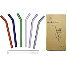 "Reusable Long Bent Glass Drinking Straws, 8"" * 8mm Set of 6 with 2 Cleaning Brushes, Multi Color for Smoothies, Milkshake, Tea, Juice, Water, Essential Oils BigNoseDeer (6 Color)"