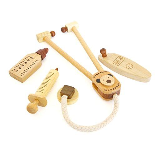 スプソリ 木のおもちゃ 木製お医者さんごっこセット 聴診器,...