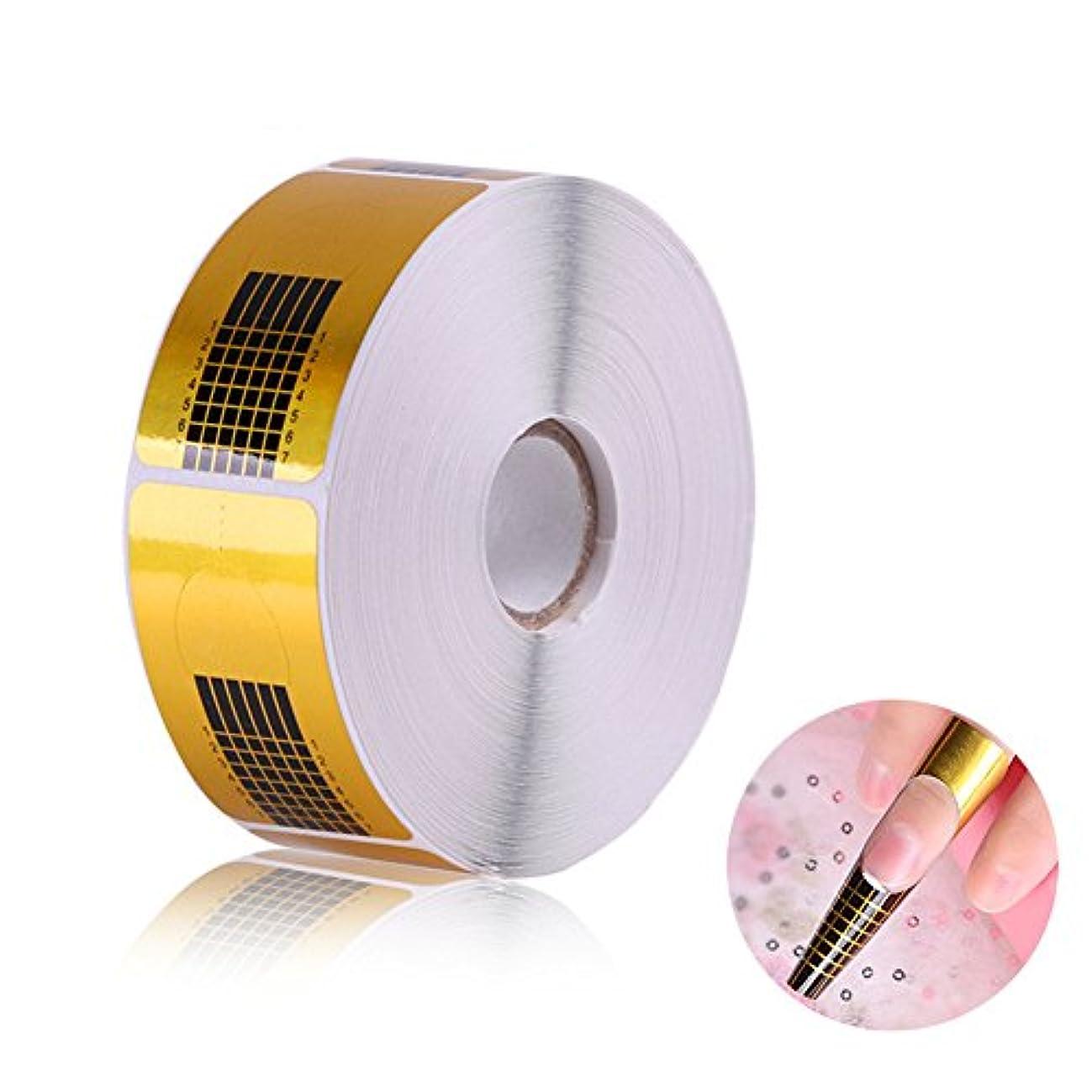 症状レベルサービス長さだしネイルフォームガイドテープ アクリル、UVジェルネイルチップエクステンションに適用なツール マニキュアネイルアートツール (500枚)