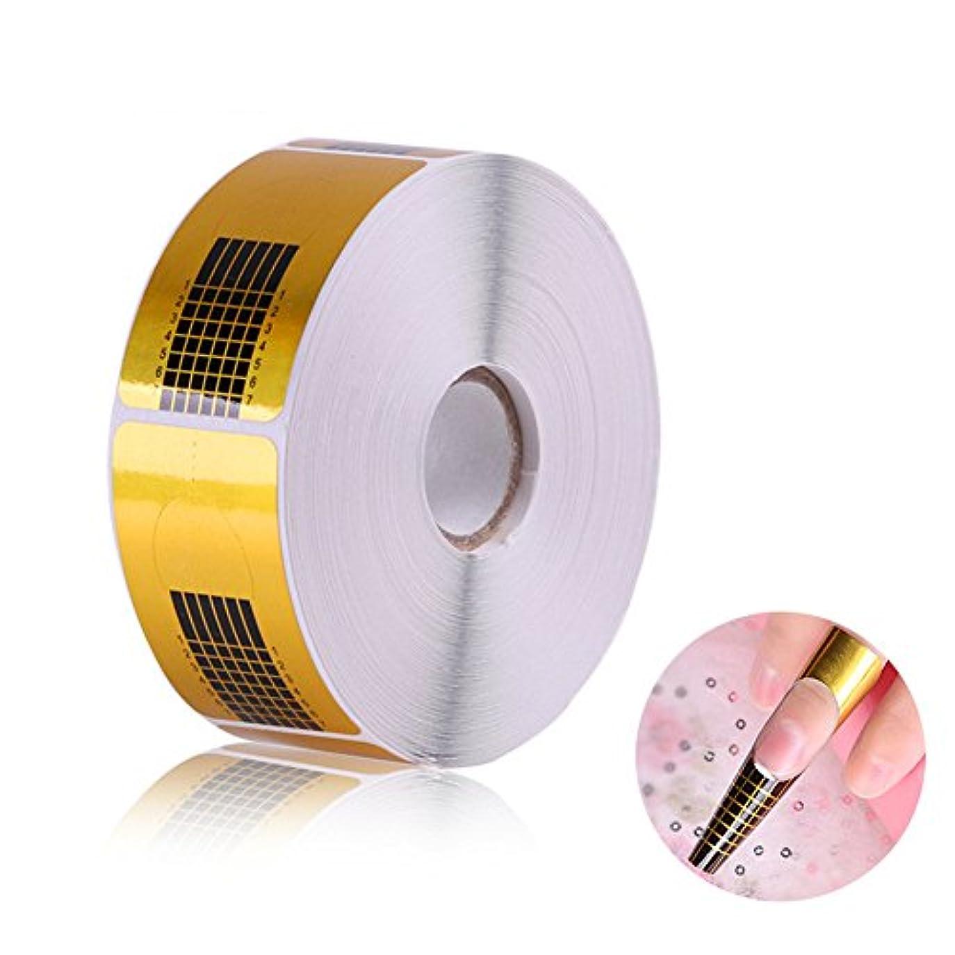 なくなるネックレット強度長さだしネイルフォームガイドテープ アクリル、UVジェルネイルチップエクステンションに適用なツール マニキュアネイルアートツール (500枚)