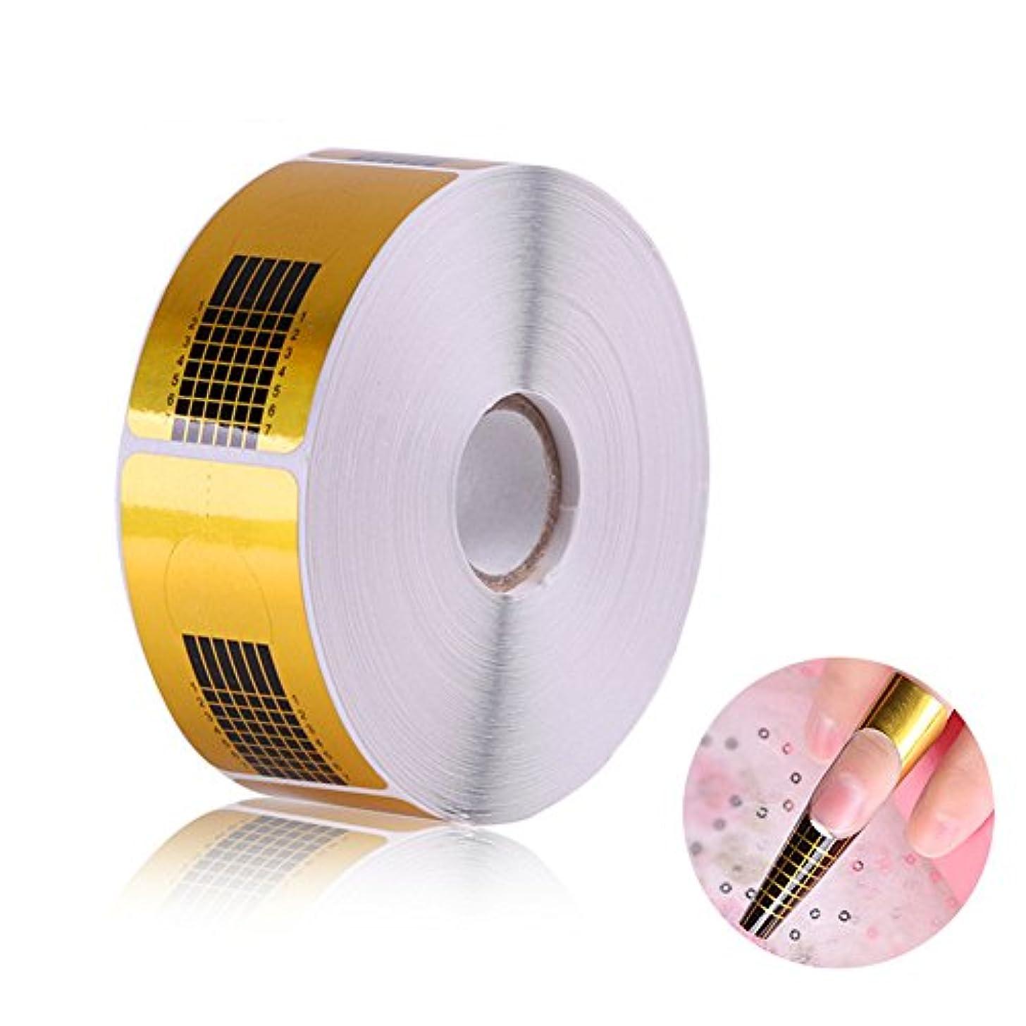 銀全員アミューズメント長さだしネイルフォームガイドテープ アクリル、UVジェルネイルチップエクステンションに適用なツール マニキュアネイルアートツール (500枚)