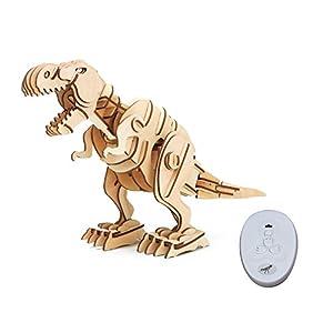 ROBOTIME 動く木製パズル ティラノサウルス T-REX 約407×160×295mm 音声制御 光制御あり 102ピース 日本語訳説明書付き レーザーカット D200